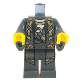 LEGO Dark Gray Jacket and Pants, Green Lapels with Gold Pattern, Flared Sleeves