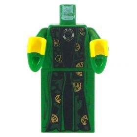LEGO Green, Black, and Gold Robes with Flared Sleeves