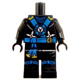 LEGO Black Keikogi with Blue Sash, Tied Knees