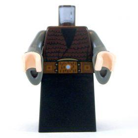 LEGO Black Robe with Dark Gray Sleeves, Brown Furry Vest, Wide Belt