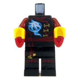 LEGO Black Outfit with Dark Red Flared Sleeves, Bird Design