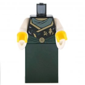 LEGO Green Dress with Gold Accents, Flared White Sleeves