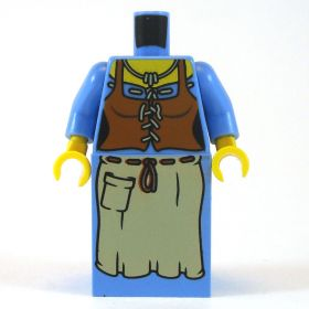 LEGO Blue Dress and Brown Corset with Tan Apron