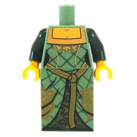 LEGO Sand Green Dress with Dark Green Arms, Gold Patterning