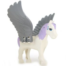 LEGO Pegasus, Purple Mane and Tail, Blue Eyes, Rounded Features
