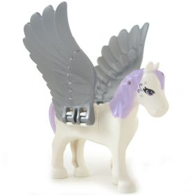 LEGO Pegasus, Purple Mane, Tail, and Eyes, Rounded Features