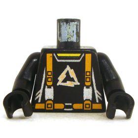 LEGO Black Torso with Orange Suspenders, Gold Triangular Logo