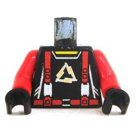 LEGO Black Torso with Red Suspenders, Gold Triangular Logo