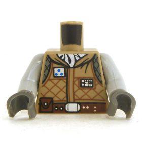 LEGO Torso, Dark  Tan Padded Jacket with Gray Arms
