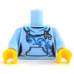LEGO Torso, Light Blue Hooded Sweatshirt, Blue Scroll Design
