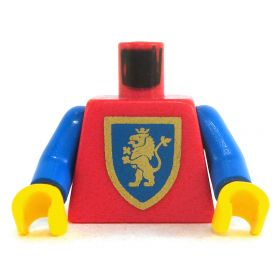 LEGO Torso, Red with Blue Arms, Rampant Lion on Shield