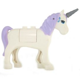 LEGO Unicorn, Rounded Features, Blue Eyes and Silver Pattern, Lavender Mane