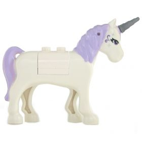 LEGO Unicorn, Rounded Features, Lavender Eyes and Silver Pattern, Lavender Mane