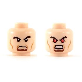 LEGO Head, Black Bushy Eyebrows, Brown Goatee, Cheek Lines, Dual Sided: Angry / Bared Teeth with Red Eyes