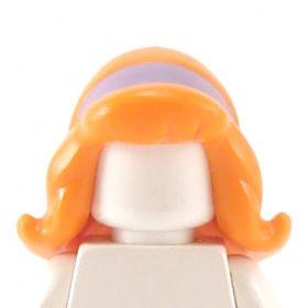 LEGO Hair, Female, Long Hair with Flipped Ends, Hairband, Orange