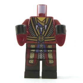 LEGO Dark Red Robes with Wizard Sleeves, Black and Gold Belt and Trim, Tooth Necklace, Snake Head on Back
