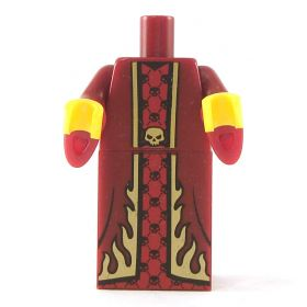 LEGO Dark Red Robe with Wizard Sleeves, with Flames and Skulls