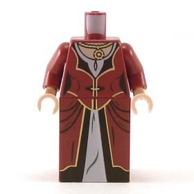 LEGO Dress, Dark Red with Gold and Black Trim, White Collar, Necklace