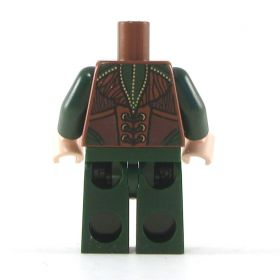 LEGO Dark Green Shirt and Pants, Brown Vest with Leaves Pattern
