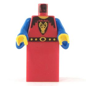 LEGO Robe, Red with Blue Wizard Sleeves, Dragon Emblem