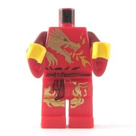 LEGO Red Outfit with Gold Dragon Design, Wizard Sleeves