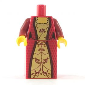 LEGO Dress, Red with Fancy Gold Pattern