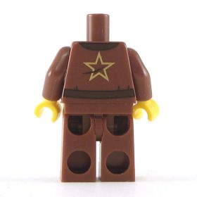 LEGO Reddish Brown Robe with Open Shirt Collar, Belt, and Necklace, Gold Star on Back