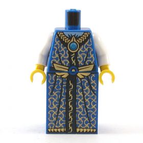 LEGO Fancy Blue Robe with Gold Pattern and White Sleeves