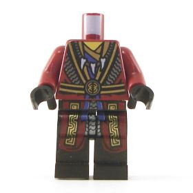 LEGO Dark Red Robes with Black and Gold Belt and Trim, Tooth Necklace, Snake Head on Back