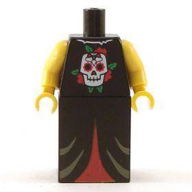 LEGO Robe, Black with Skull Emblem, Red Pattern on Lower Half