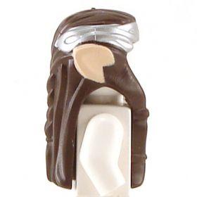 LEGO Hair, Long Dark Brown Wavy with Braid, Silver Headband, and Light Flesh Elf Ears