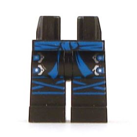 LEGO Legs, Black with Blue Sash, Silver Buckles and Blue Knee Wrap