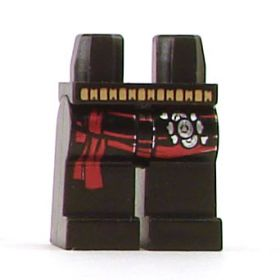 LEGO Legs, Black with Belt, Red Sash and Buckles