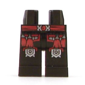 LEGO Legs, Black with Red Belt, Red Tassels and Silver Outlined Knee Pads