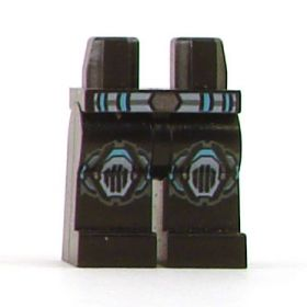 LEGO Legs, Black with Blue and Silver Belt, Knee Protection
