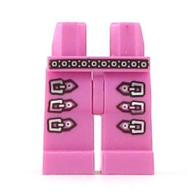 LEGO Legs, Pink with Silver Belt and Triple Leg Buckles