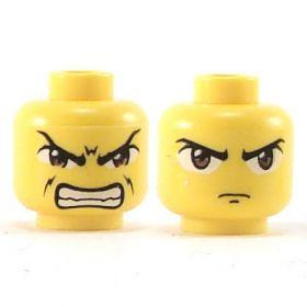 LEGO Head, Large Brown Eyes, Frown / Bared Teeth