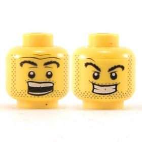 LEGO Head, Thick Black Eyebrows and Stubble, Smiling / Surprised