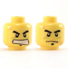 LEGO Head, Thick Black Eyebrows, Scratches and Bruises, Determined Faces