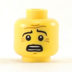 LEGO Head, Raised Eyebrows, Worried Expression