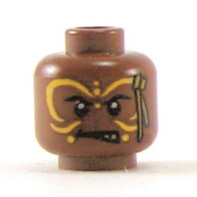 LEGO Head, Dark Flesh, Angry with Yellow Face Paint