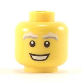 LEGO Head, White and Gray Eyebrows, Large Smile