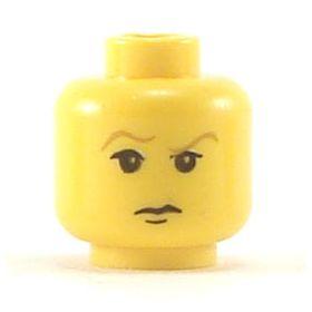 LEGO Head, Wavy Brown Eyebrows, Sneer