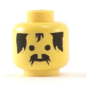 LEGO Head, Black Moustache and Hair