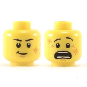 LEGO Head, Black Eyebrows and Scratches, Determined / Scared