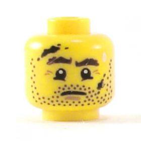 LEGO Head, Brown Stubble, Dirt