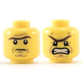 LEGO Head, Dark Brown Unibrow, Cheek and Forehead Lines