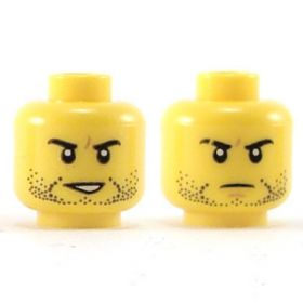 LEGO Head, Black Stubble, Smile / Frown