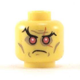 LEGO Head, Black Eyebrows, Red Eyes, Scar