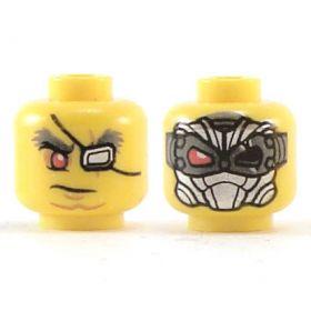 LEGO Head, Bushy Gray Eyebrows, Red Right Eye, Silver Patch Left Eye / Silver Mask